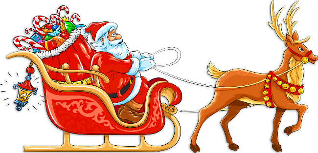 Transparent Santa with Sleigh and Deer Clipart.