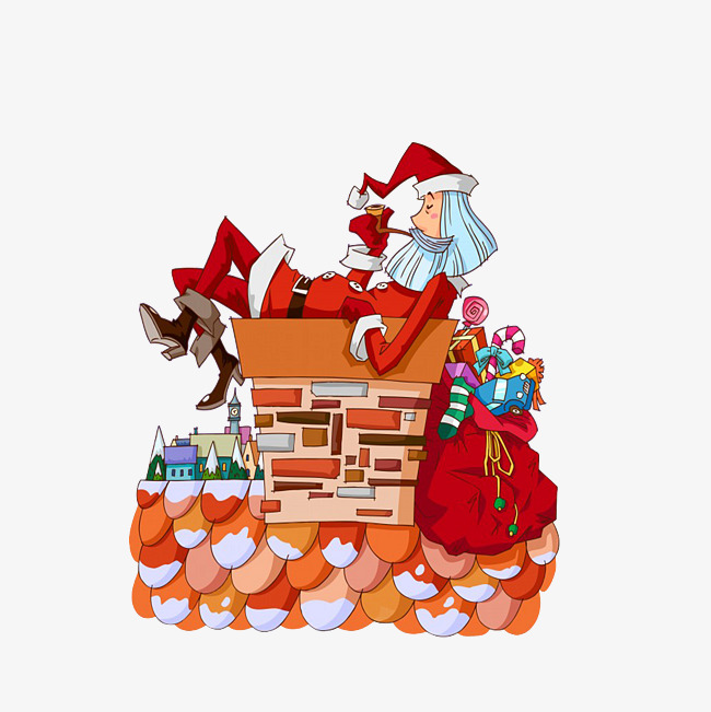 Download Free png Santa Claus Sleeping On A Chimney, Santa.