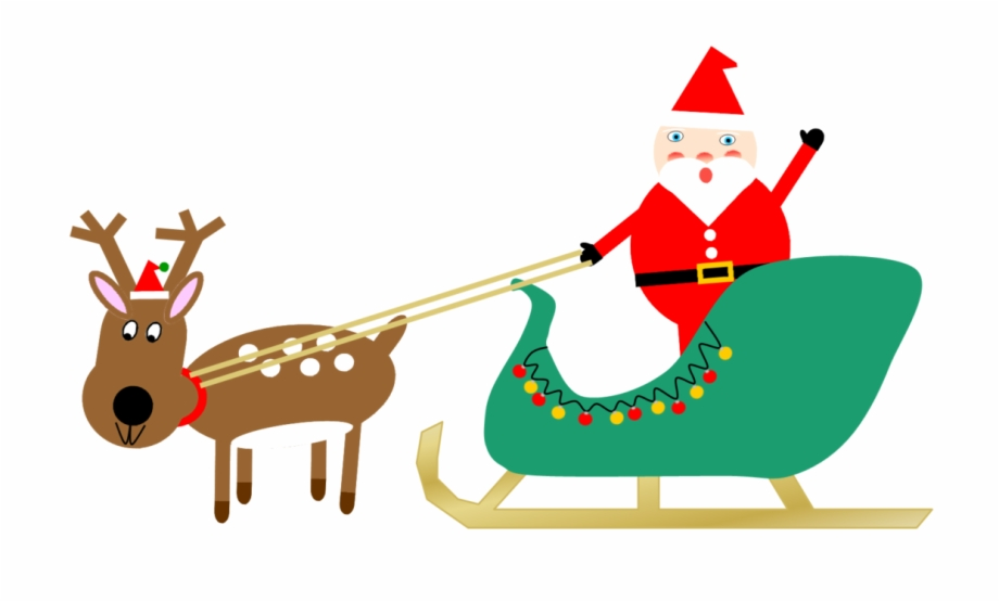 Santa Sleigh And Reindeer 1 Free PNG Images & Clipart.