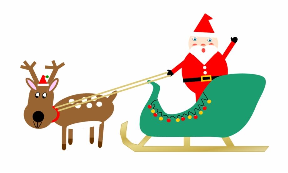 Clipart Santa Sleigh And Reindeer