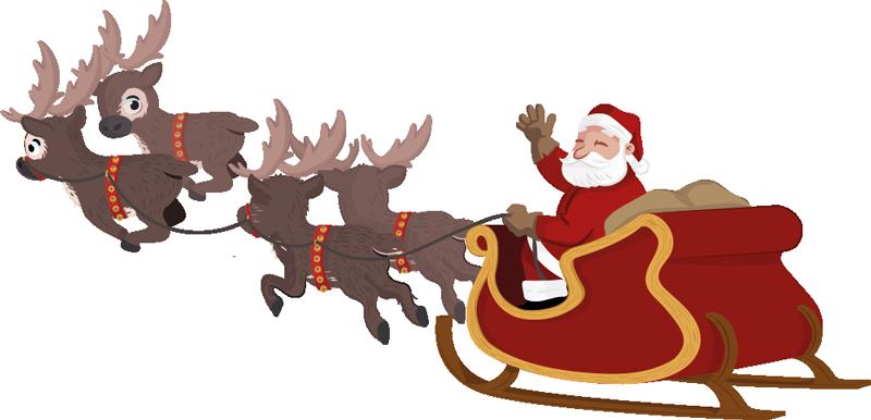 Reindeer Santa Claus Sled Clip art.
