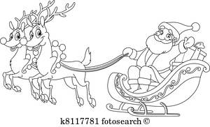 Santa Sleigh Clipart Black And White (93+ images in.