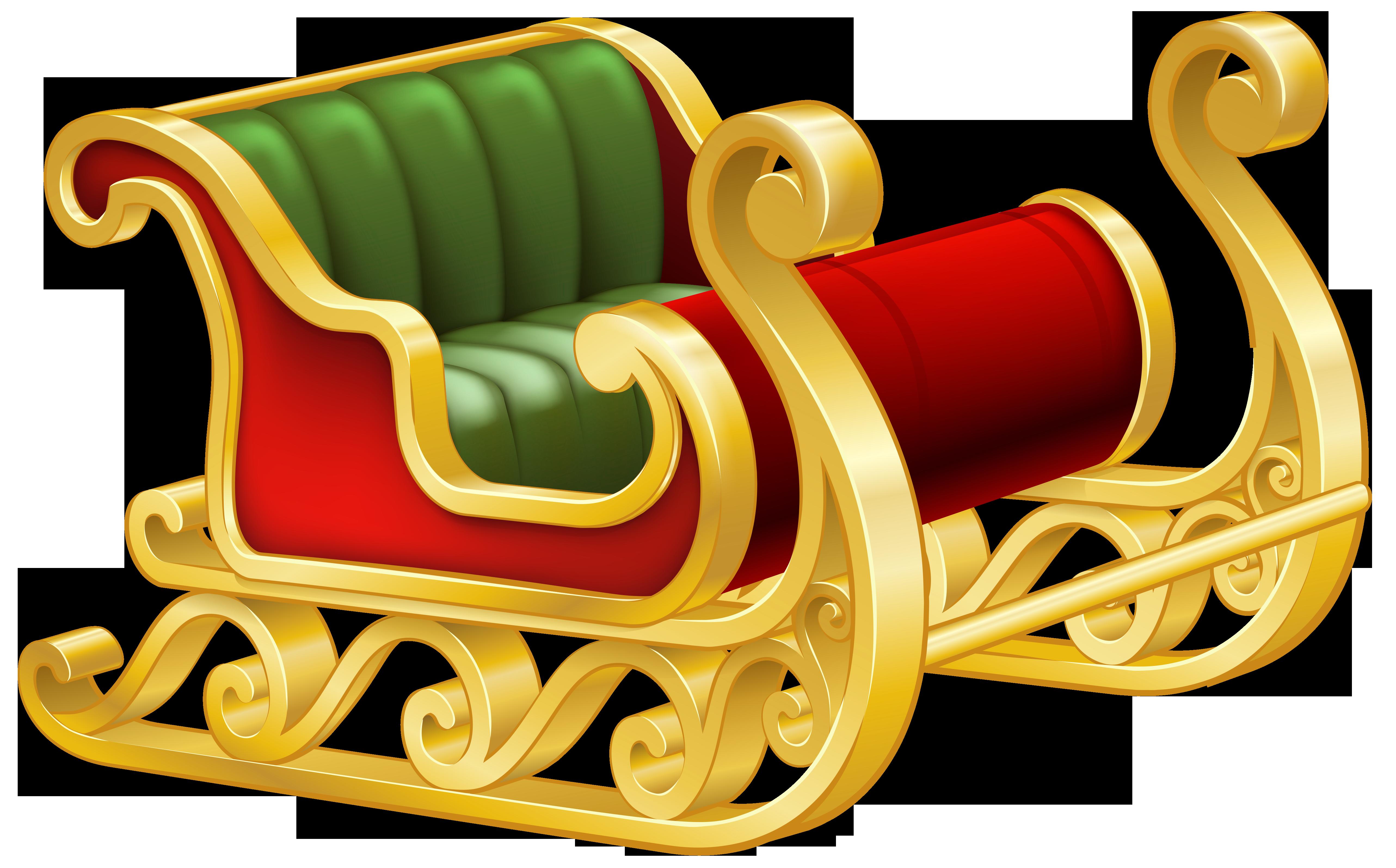 Santa Sleigh PNG Clip Art Image.
