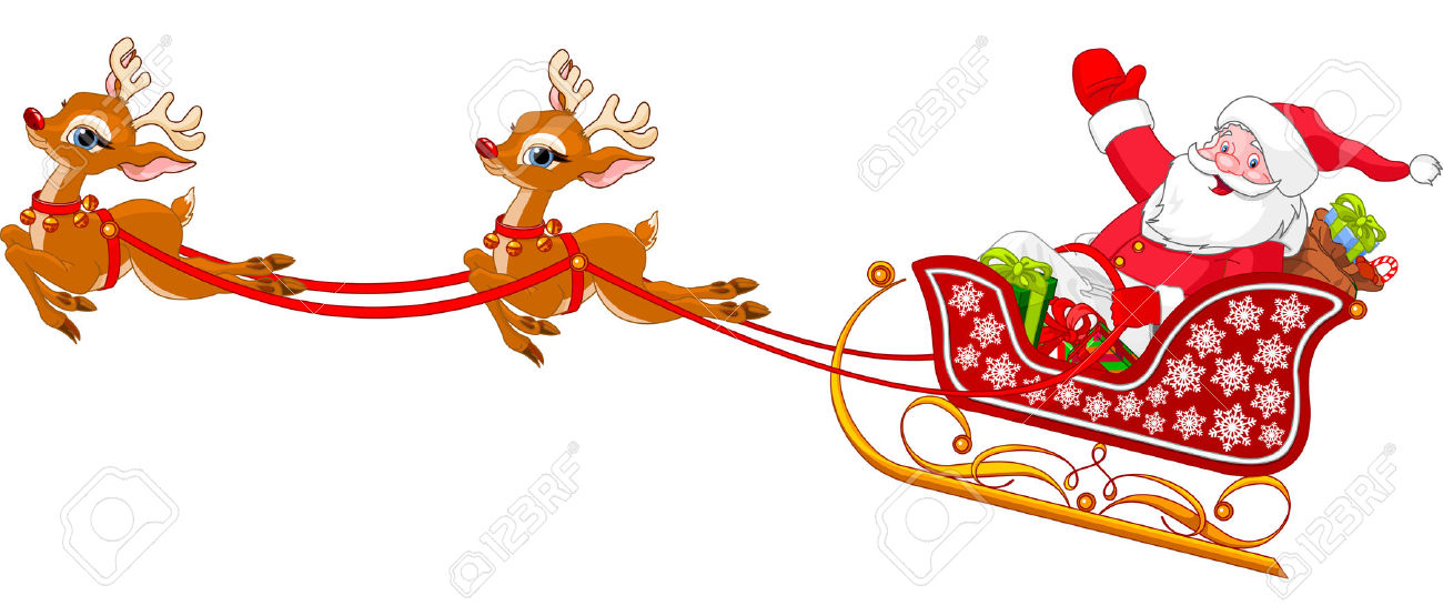 Cartoon Illustration Of Santa Claus In His Sleigh Royalty Free.