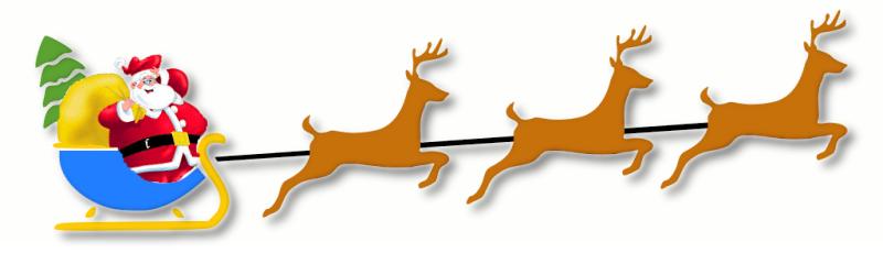 Santa Sleigh Reindeer Clipart.