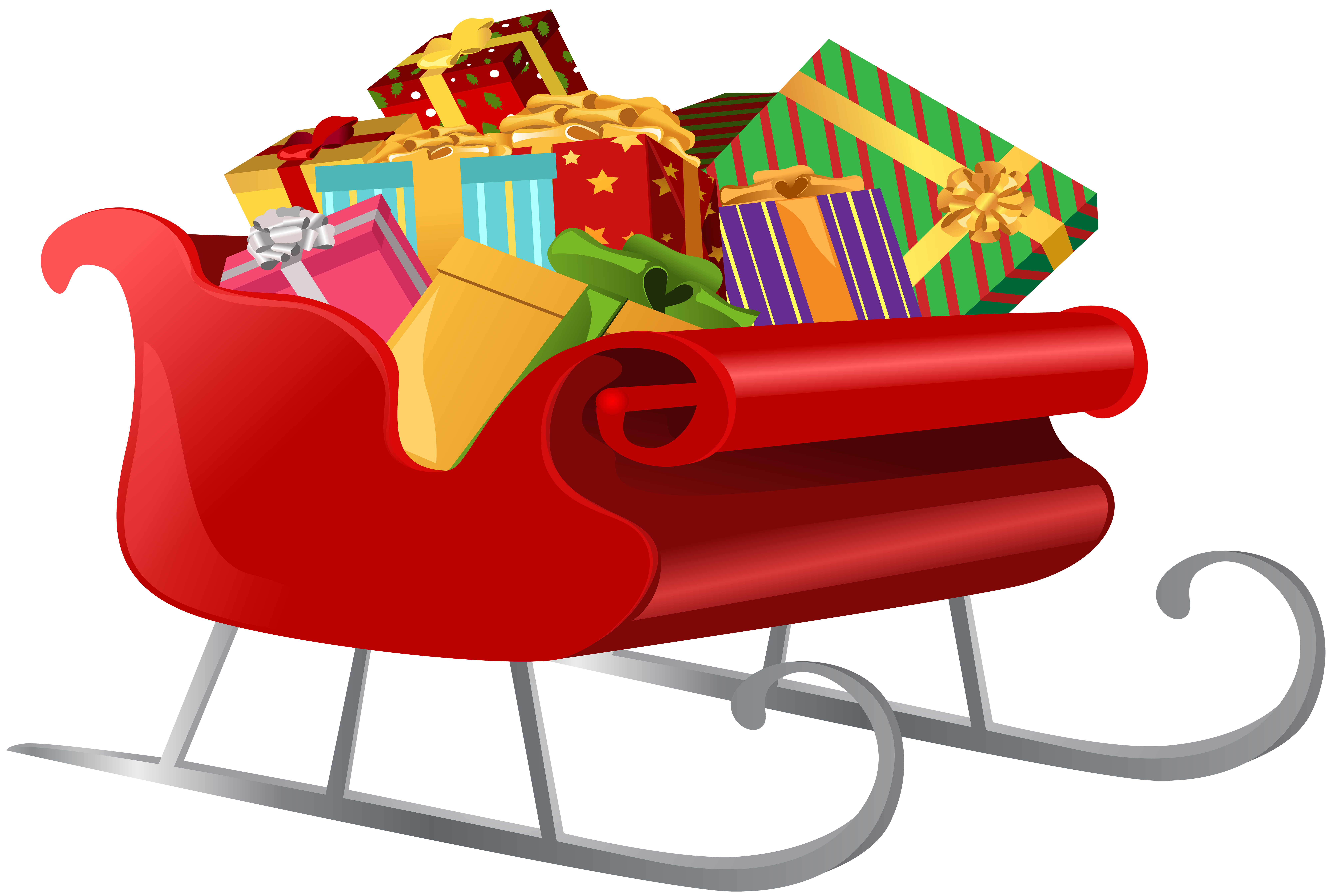 Santa Sleigh with Gifts PNG Clip Art Image.