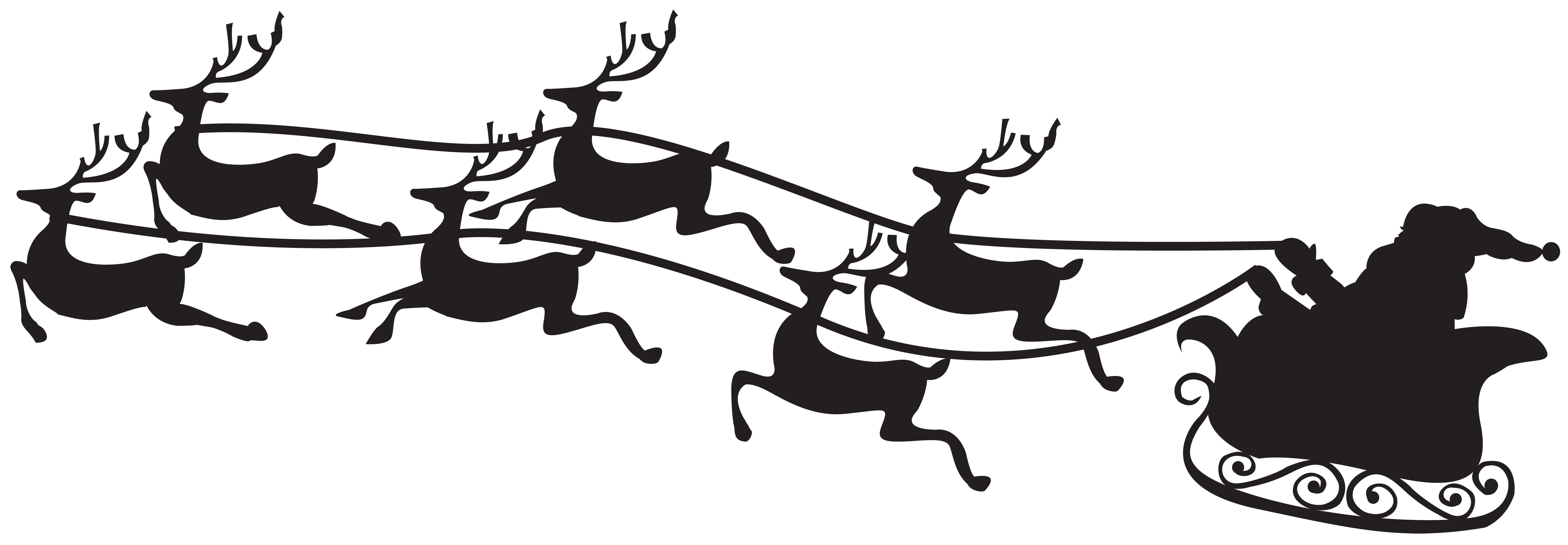 Santa on Sled Silhouette PNG Clip Art Image.
