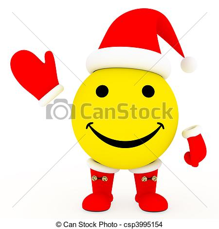 Drawing of Happy face in Santa\'s costume on white background.