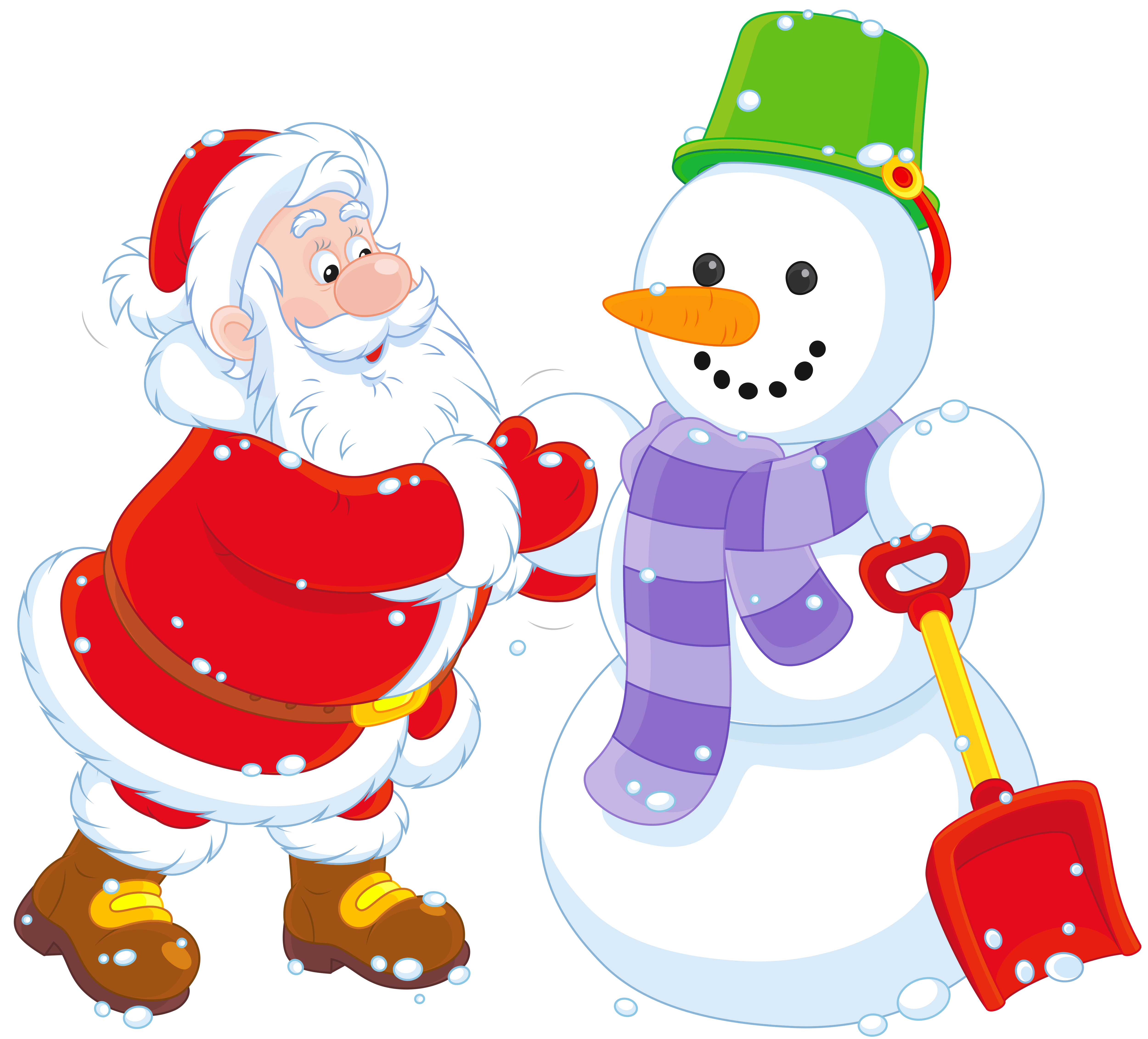 Transparent Santa and Snowman PNG Clipart.