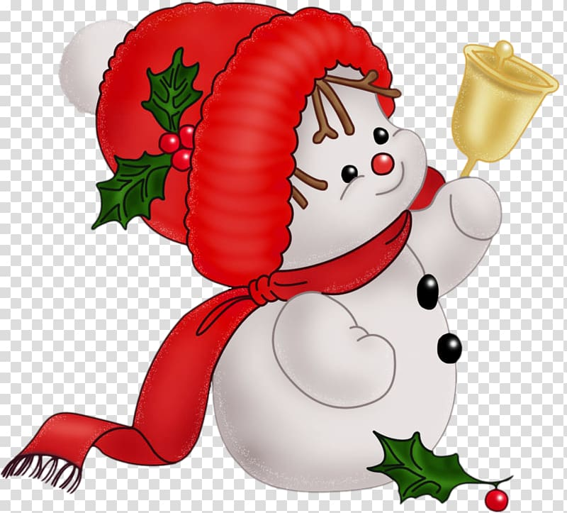 Snowman holding bell illustration, Candy cane Santa Claus.