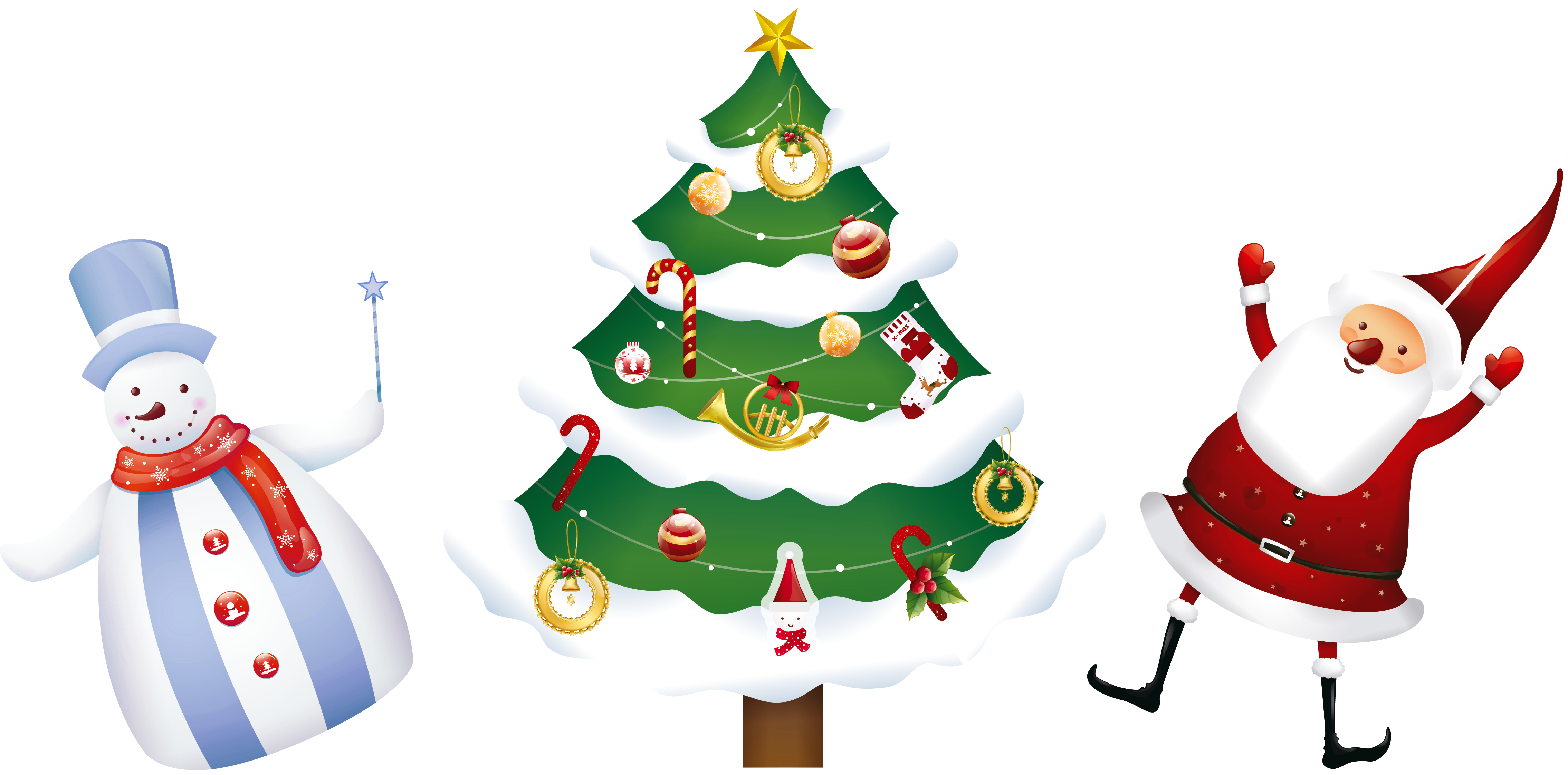 Transparent Christmas Santa Tree and Snowman PNG Clipart.
