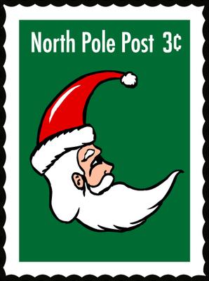 CHRISTMAS NORTH POLE SANTA STAMP CLIP ART.