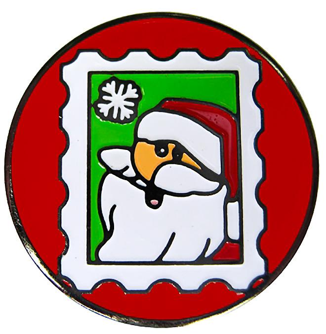 Santa Stamp Christmas Ball Marker & Snowflake Hat Clip.