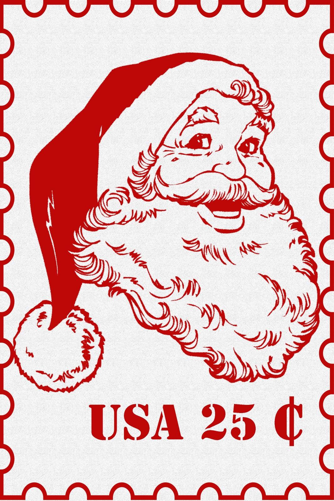 Santa Stamp Cliparts.