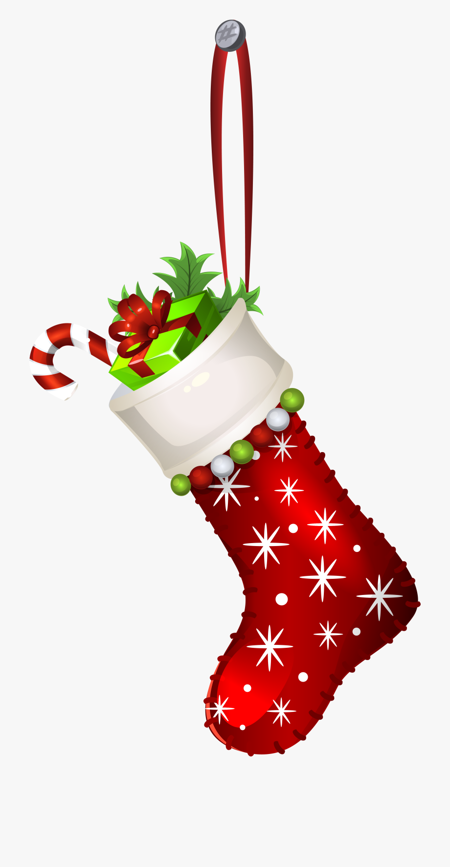Red Christmas Stocking Transparent Png Clip Art Image.
