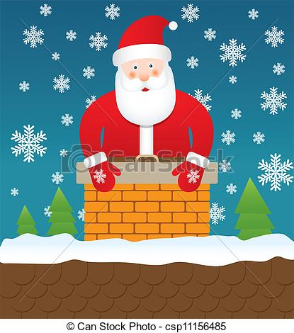 Clipart Vector of Santa Claus stuck in chimney.