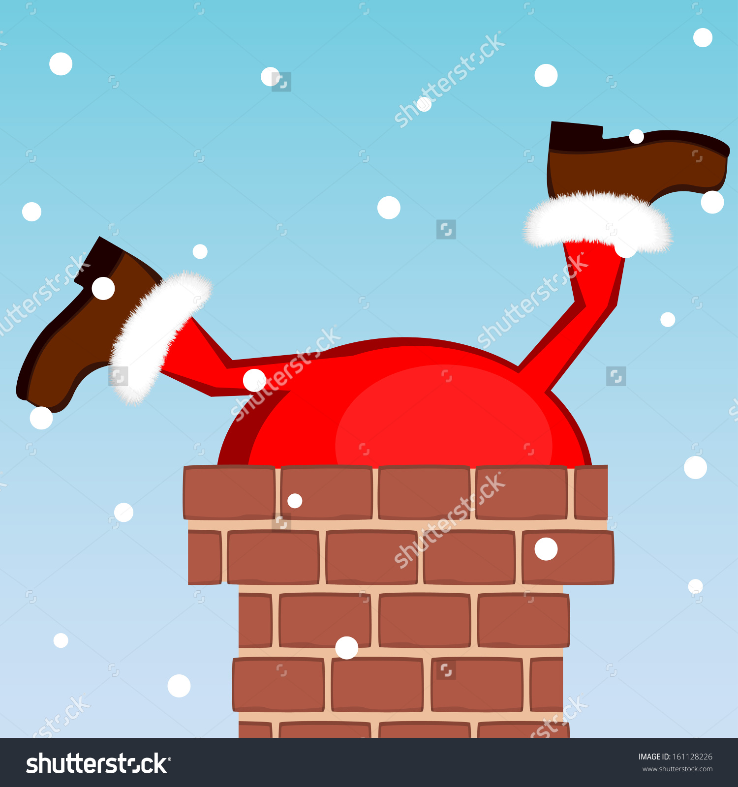 santa stuck in a chimney clipart #6