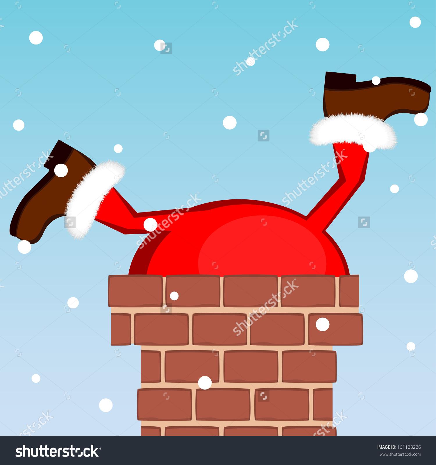 santa stuck in a chimney clipart #6