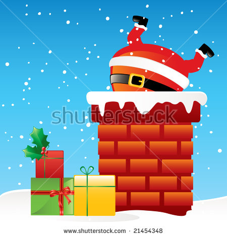 Santa Chimney Stock Images, Royalty.