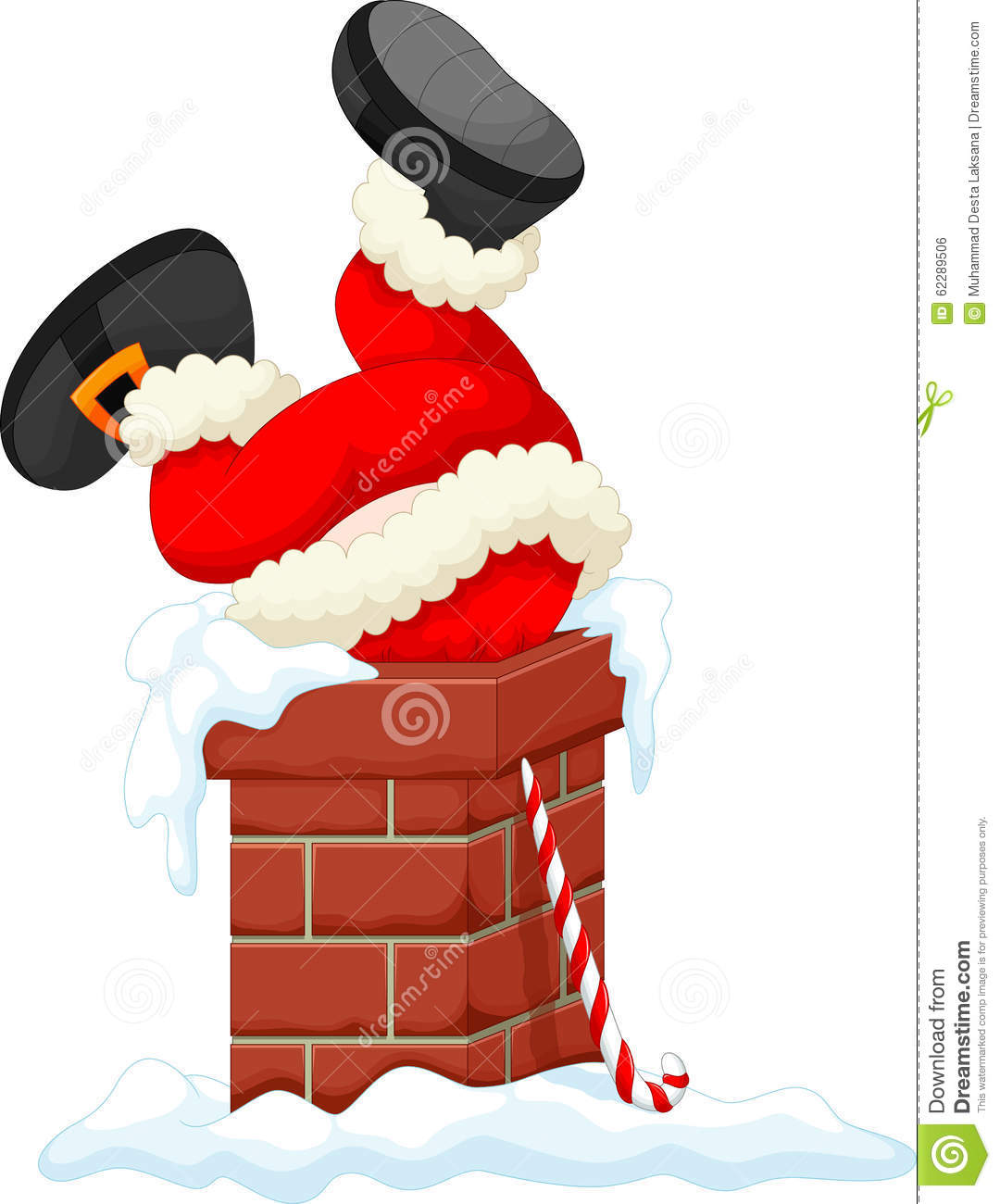Santa Claus Stuck In The Chimney Stock Illustration.