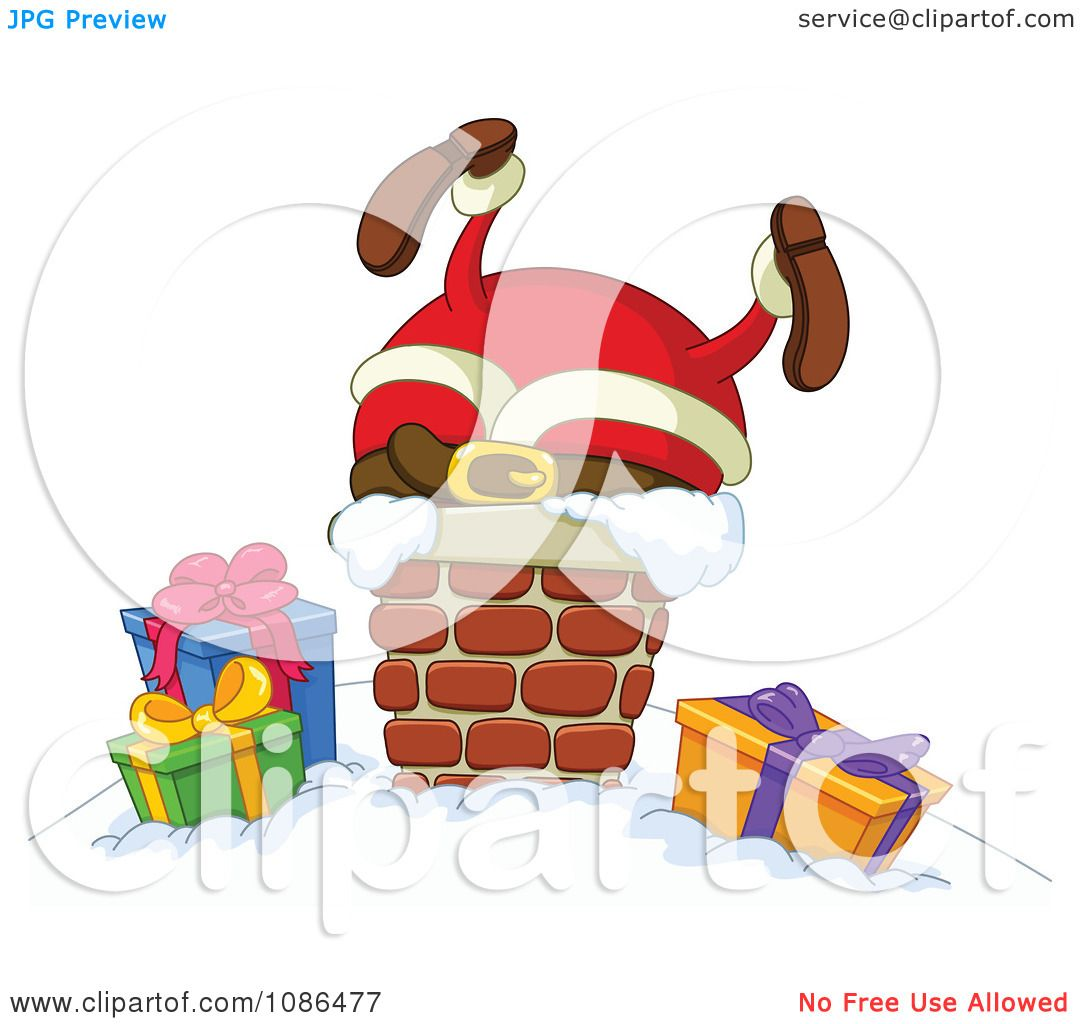 Clipart Santa Stuck In A Chimney On Christmas Eve.