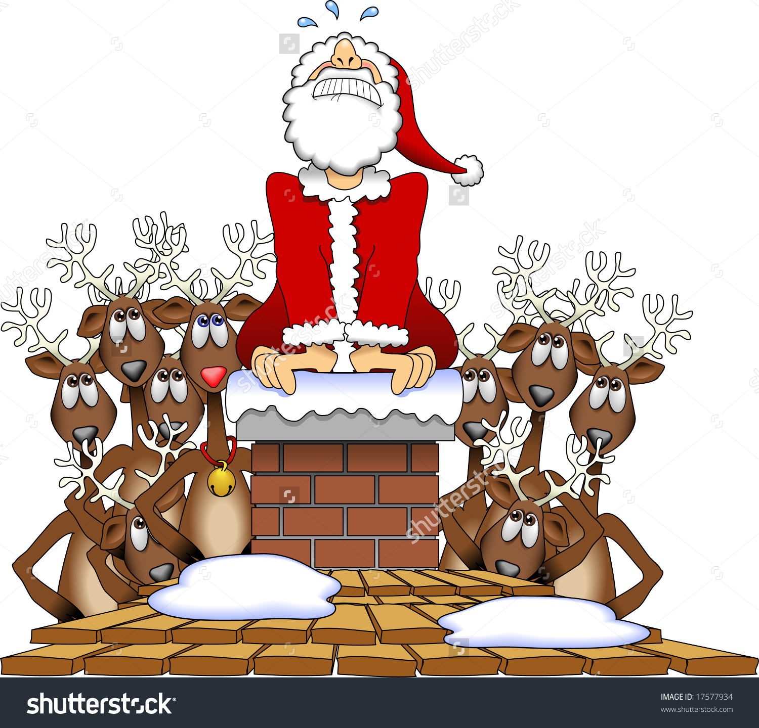 Showing post & media for Cartoon santa stuck chimney.