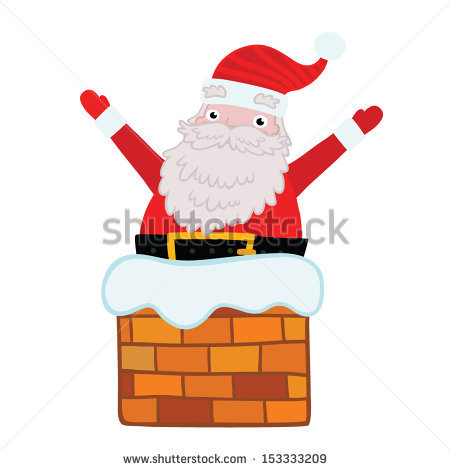Santa Stuck In Chimney Stock Images, Royalty.