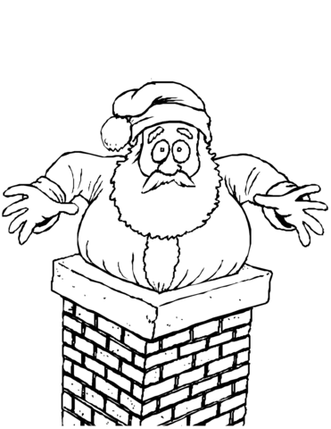 Santa Stuck in the Chimney coloring page.