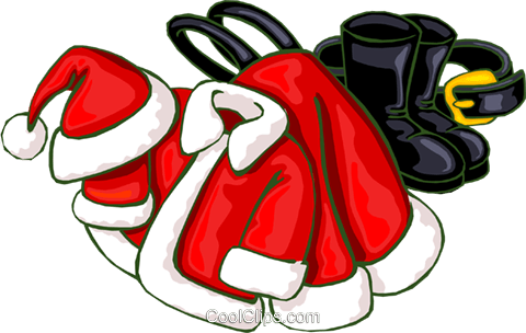Santa suit Royalty Free Vector Clip Art illustration.