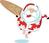 Santa Surfing Clip Art.