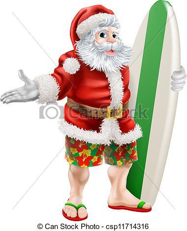Santa surfing Clipart Vector Graphics. 131 Santa surfing EPS clip.