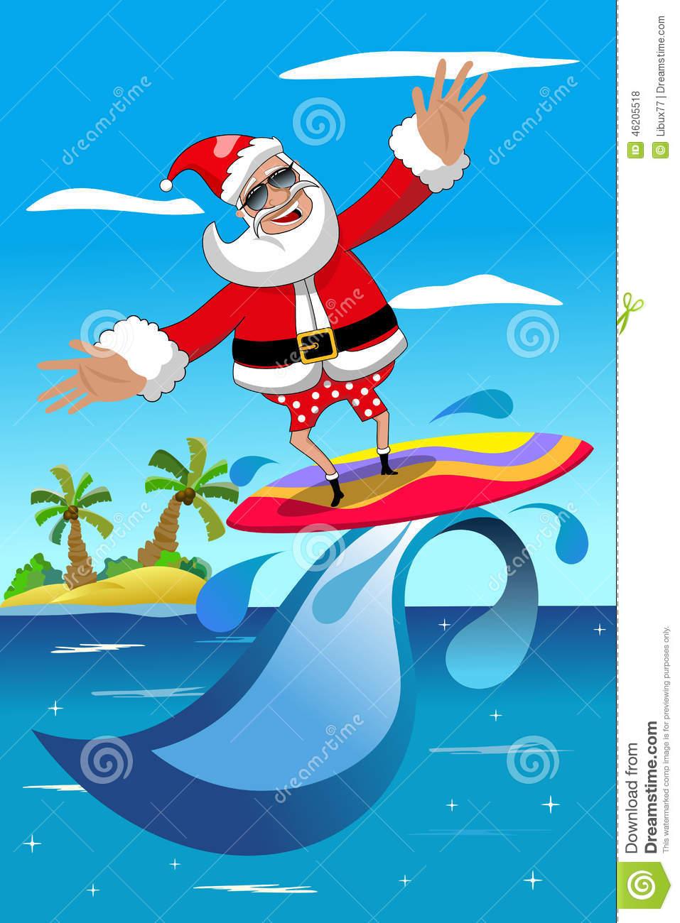 Surfing Santa Clipart.