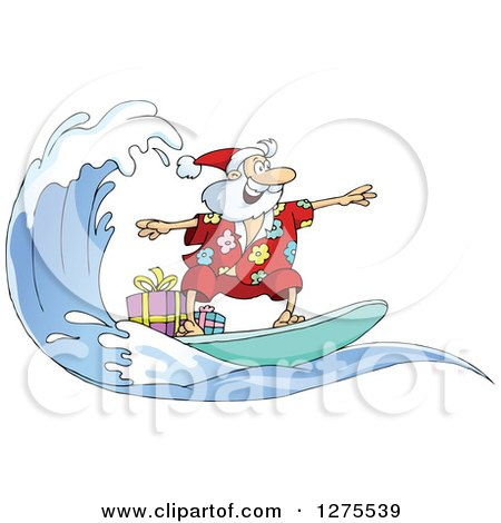 Clipart of Santa Clause Surfing and Riding a Wave with Christmas.