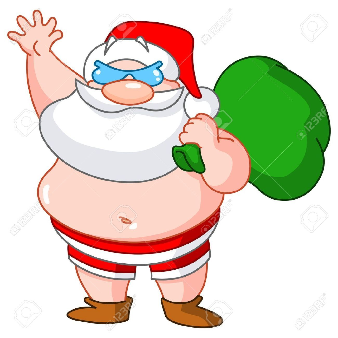 Image result for santa in a bathing suit clipart.