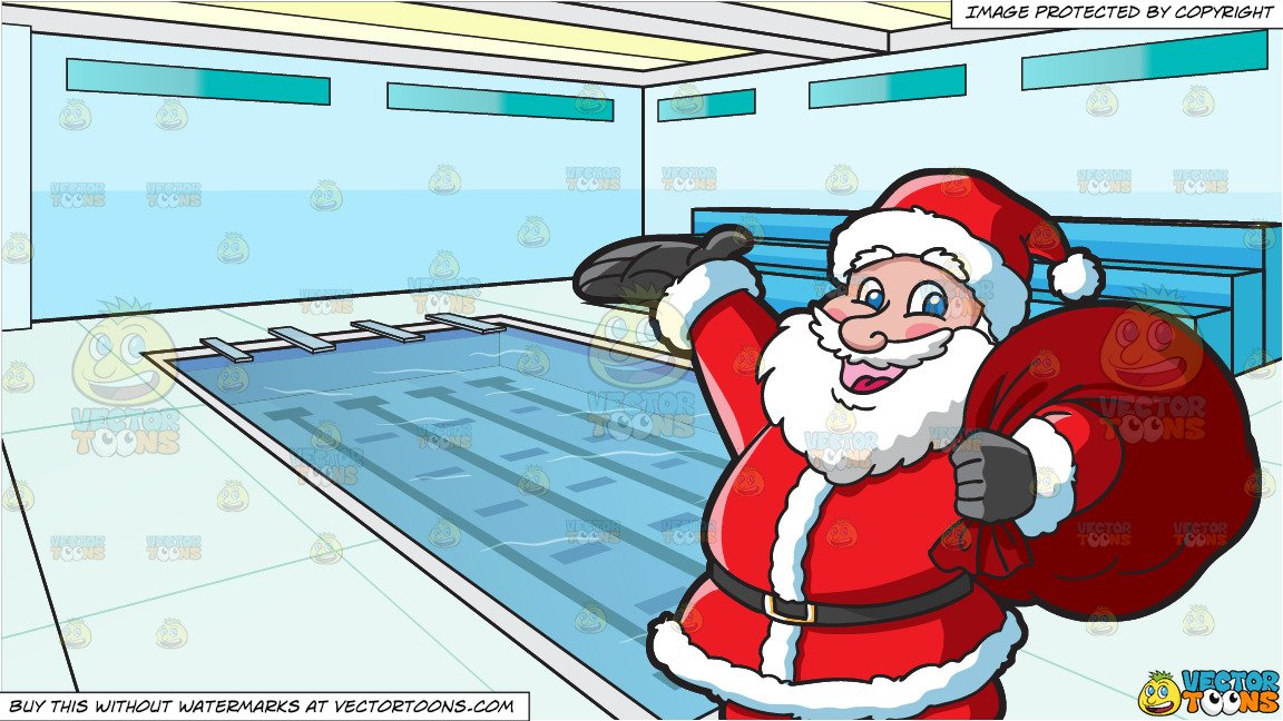 Santa Clause Carrying A Heavy Bag and Indoor Olympic Size Swimming Pool  Background.