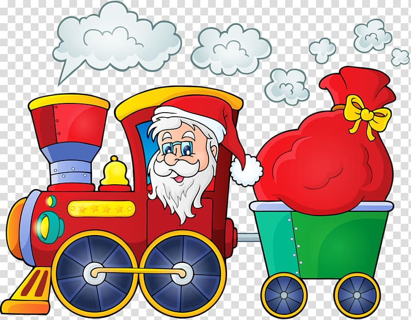Train Santa Claus Christmas Illustration, Santa Claus.