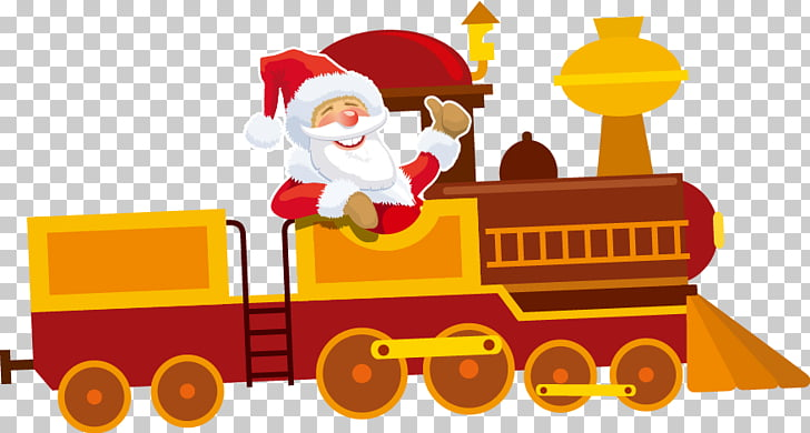 Santa Claus Train Christmas ornament , Cartoon Santa Train.