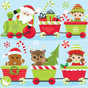 Christmas party train clipart commercial use, graphics, digital.