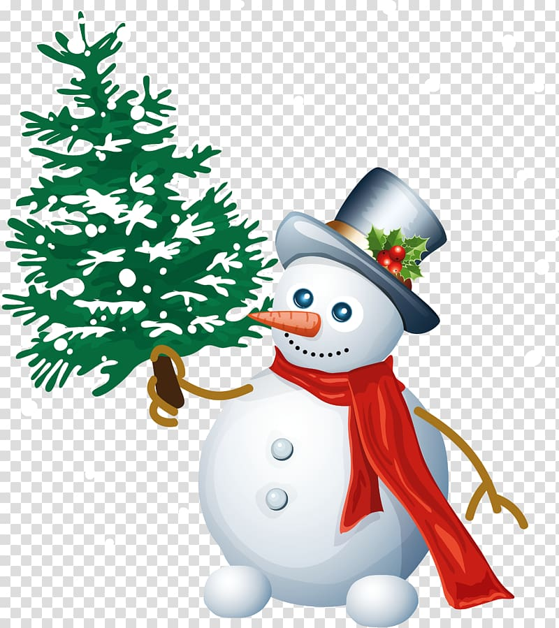 Snowman holding Christmas tree illustration, Snowman.