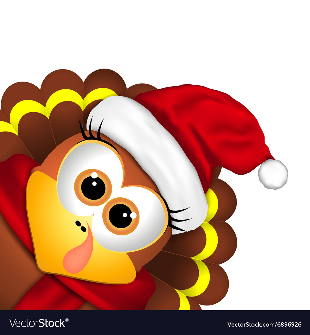 Cartoon turkey in a santa hat on white background.