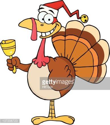 Turkey Santa Ringing A Bell premium clipart.