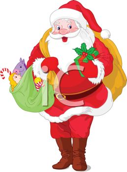 Picture of a Cartoon Santa Claus With Bags of Christmas Gifts In a.