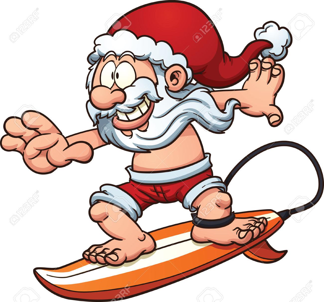 Cartoon Surfing Santa Claus. Vector Clip Art Illustration With.