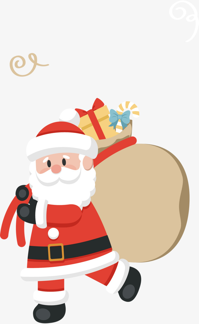 Santa Claus With A Gift, Vector Png, Chr #142303.
