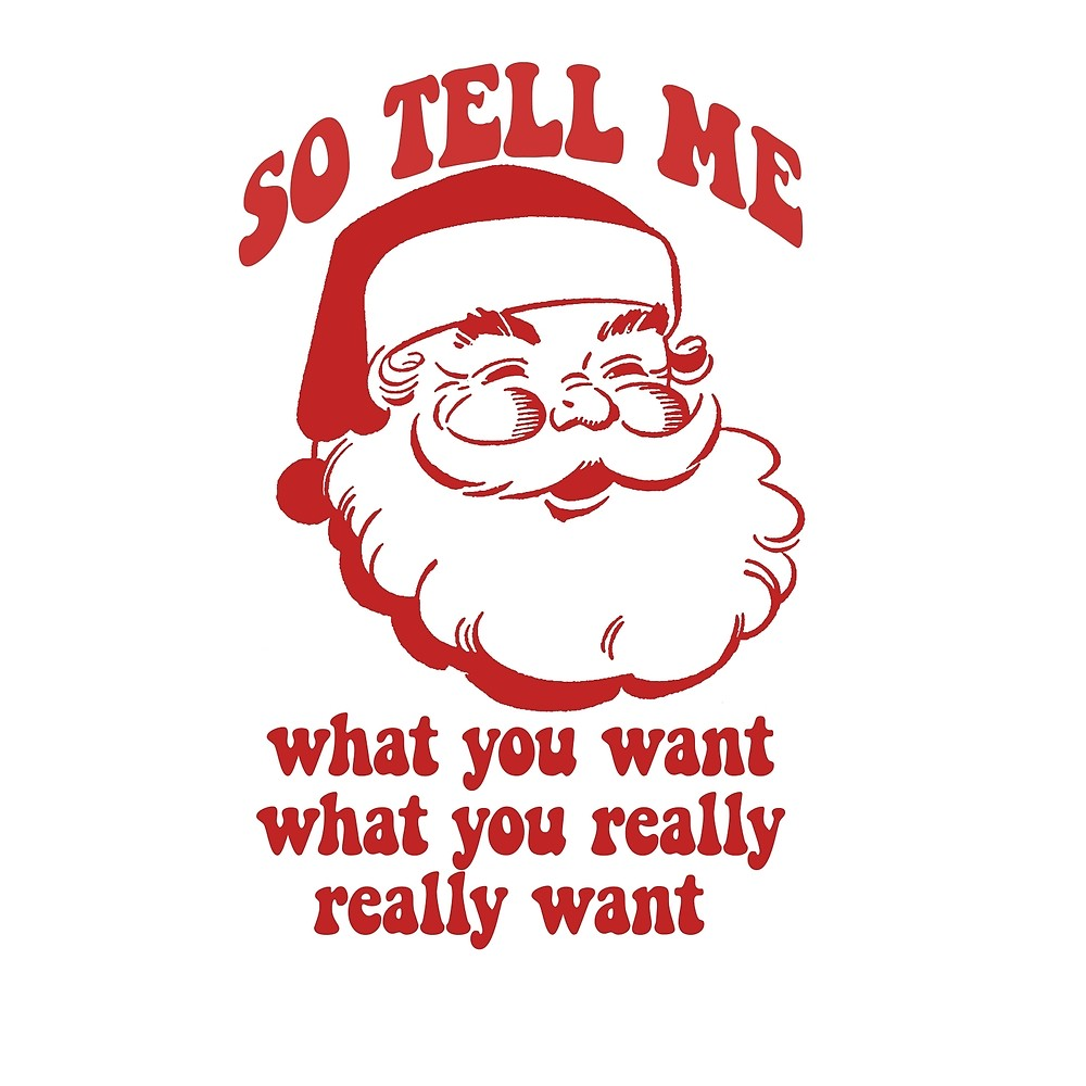 SO TELL ME WHAT YOU WANT WHAT YOU REALLY REALLY WANT Santa.
