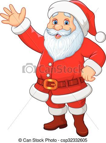 Cartoon funny Santa waving hand.