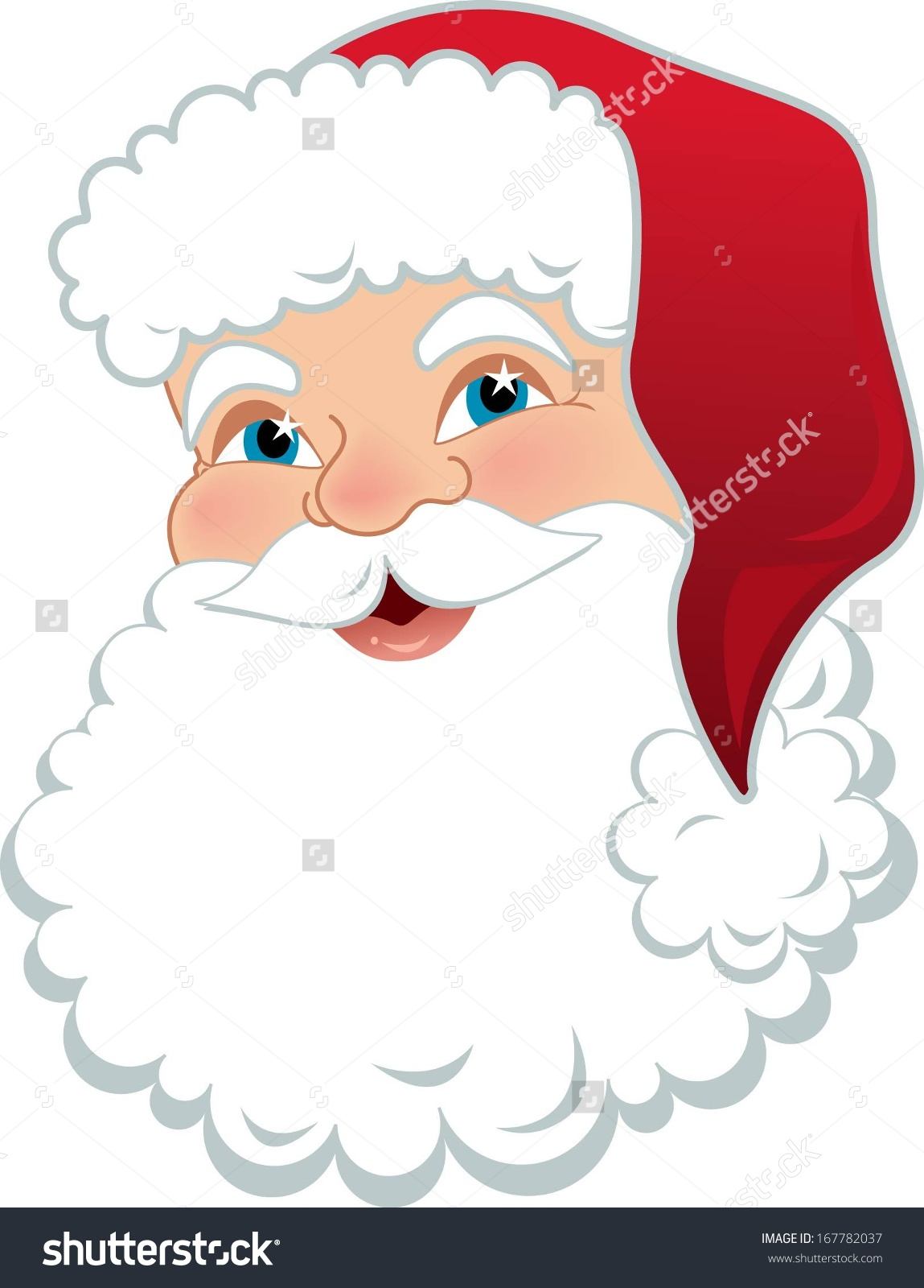 Santa wide eyed clipart.