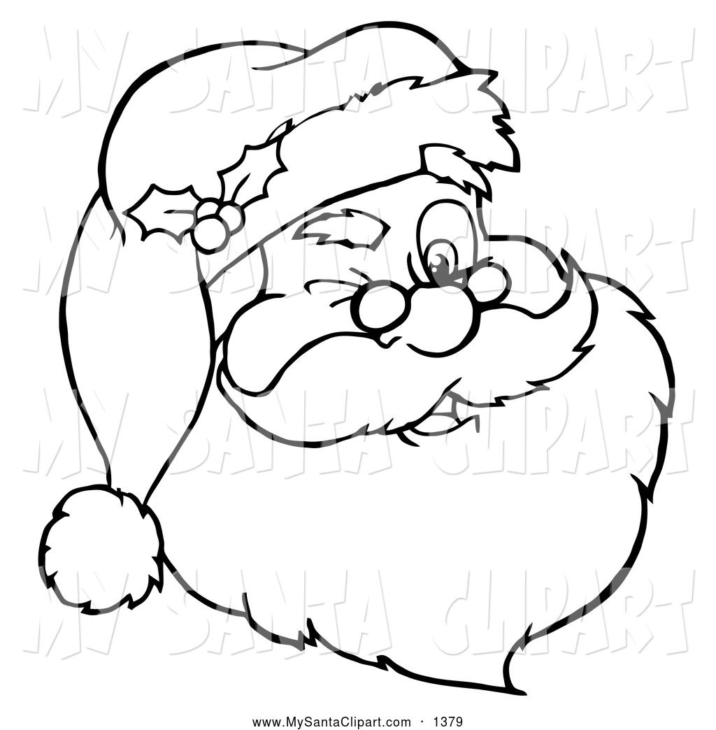 Cartoon Clip Art of Winking Santa Claus Face.
