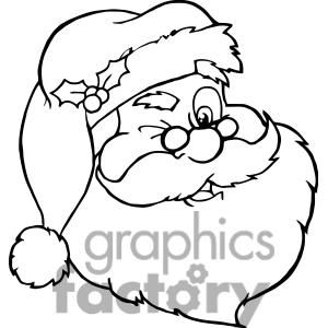 Santa Claus Winking outline clipart. Royalty.