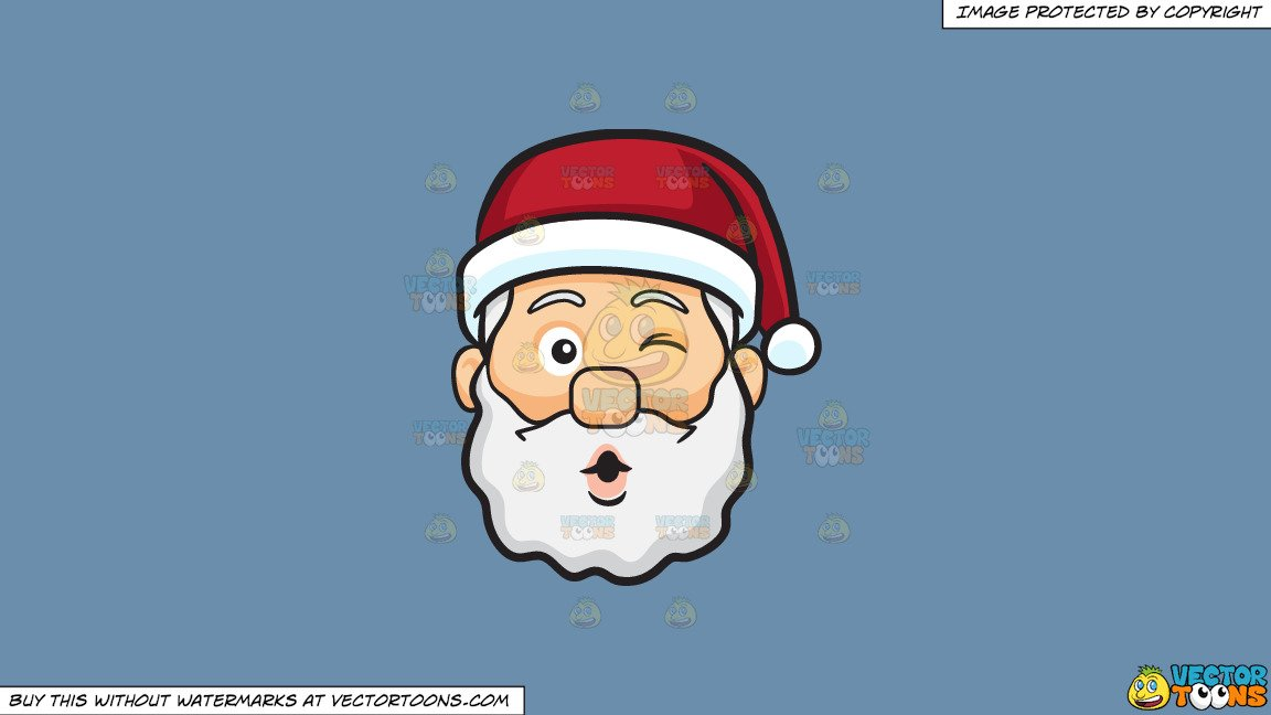 Clipart: A Winking Face Of Santa Claus Blowing Some Kisses on a Solid  Shadow Blue 6C8Ead Background.